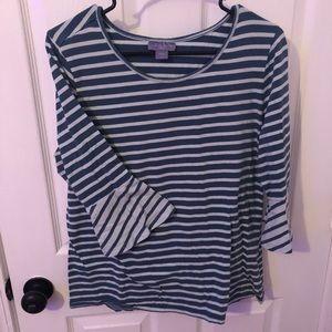Blue Striped Bell sleeve Shirt